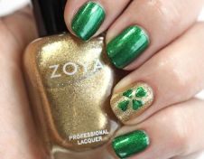 Gorgeous-Shamrock-Design-on-Golden-Nails